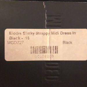 Missguided Dresses - Long black slinky thin strap stretch midi dress